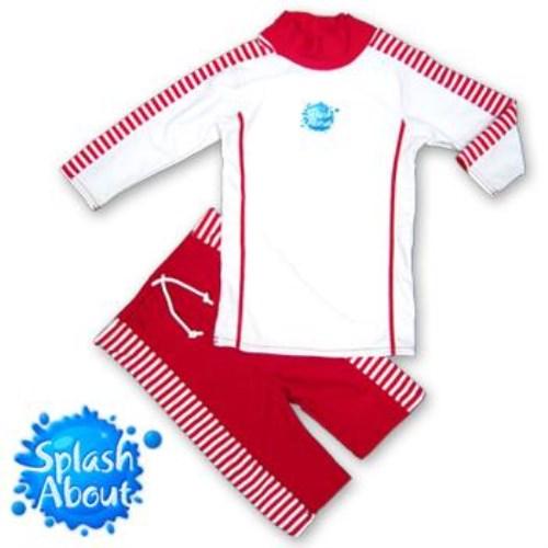 《Splash About 潑寶》UV Close Fit 兒童抗 UV 游泳套裝 - 紅白條紋