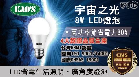 平均最低只要69元起(含運)即可享有KAOS 廣角LED(8W)6入/12入/24入/48入/96入/120入,顏色:白光/黃光。