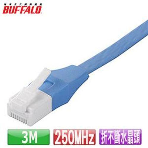 Buffalo 獨家專利水晶頭卡榫折不斷 Cat 6平板網路線(3M)-藍