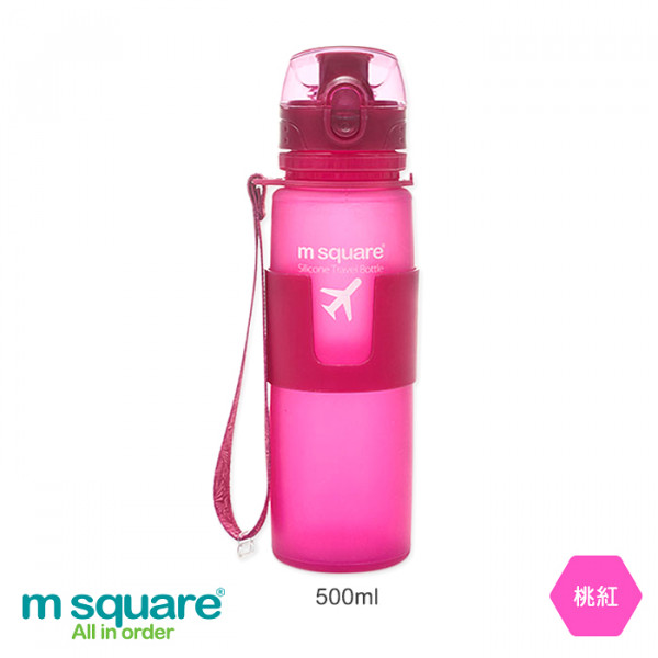 【m square】摺疊矽膠水壺 500ml 桃紅