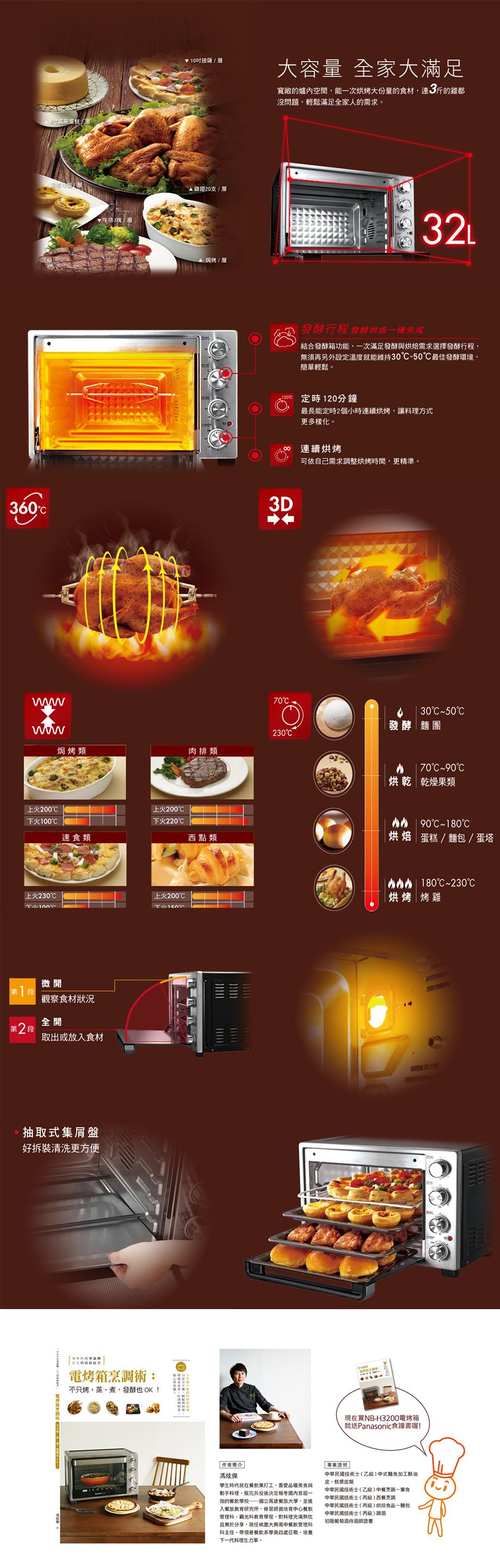 國際牌Panasonic烤箱 NB-H3200 32L 上下火獨立 發酵行程 旋轉燒烤 3D熱風 (台灣松下簽約經銷商)