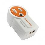 群加 旋轉AC插座USB充電器 橘