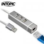 INTOPIC 廣鼎 USB2.0 RJ45鋁合金集線器 HBC-28