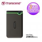 Transcend 創見 StoreJet 25M3 2TB 薄型行動硬碟 TS2TSJ25M3G 軍綠