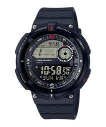 CASIO WATCH 卡西歐黑反白登山兩地時間世界地圖溫度指北針運動腕錶 型號:SGW-600H-1B【神梭鐘錶】