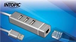【九統電競】INTOPIC USB2.0&RJ45鋁合金集線器HBC-28