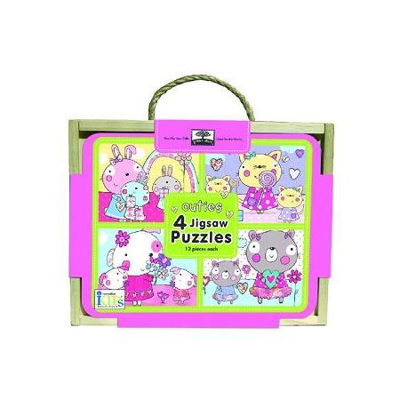Green Start - Jigsaw Puzzle box sets寶寶四格木盒拼圖-Cuties