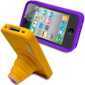 Apple iPhone 4S 相機造型支架果凍套+螢幕保護貼