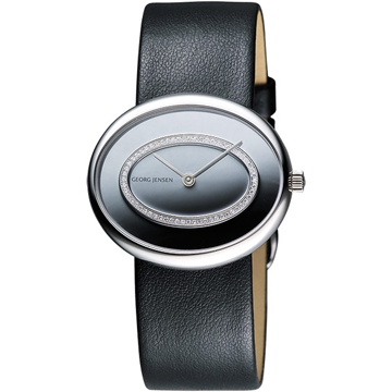GEORG JENSEN 經典OVAL橢圓真鑽腕錶(3575261)-銀/黑/34mm