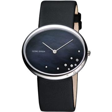GEORG JENSEN 閃耀星空OVAL橢圓真鑽腕錶(3575336)-珍珠貝/黑/40mm