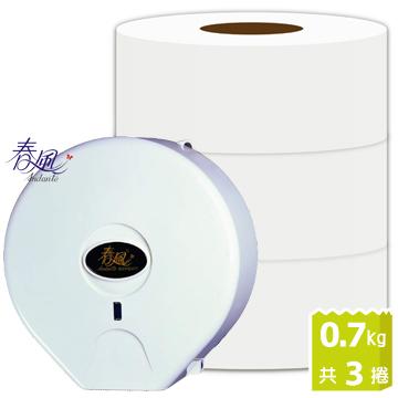 《春風》大捲筒衛生紙(0.7 kg*3捲) +大捲筒衛生紙架x1
