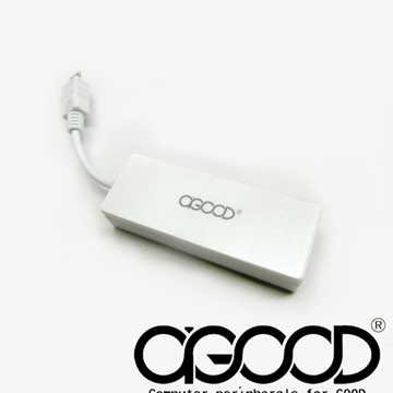 【A-GOOD】橡皮擦MiniUSB多功能讀卡機+轉接頭-星光白