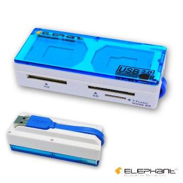 ELEPHANT All-in-One USB 3.0記憶卡收納盒讀卡機-支援UHS-I速度100MB/s (WER1012BL)