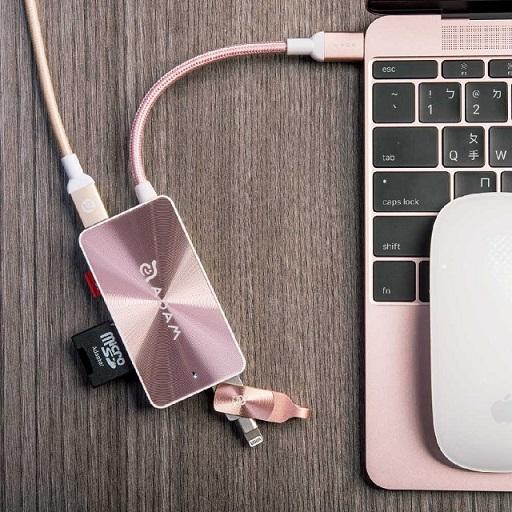 【亞果元素】CASA HUB PDC501 USB3.1 Type-C 5合1 80W 多功能充電傳輸讀卡機 玫瑰金