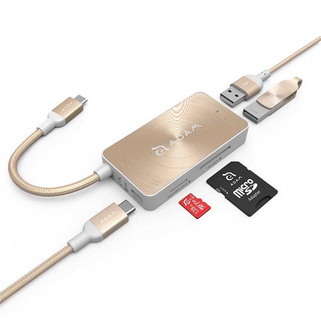 【亞果元素】CASA HUB PDC501 USB3.1 Type-C 5合1 80W 多功能充電傳輸讀卡機 金