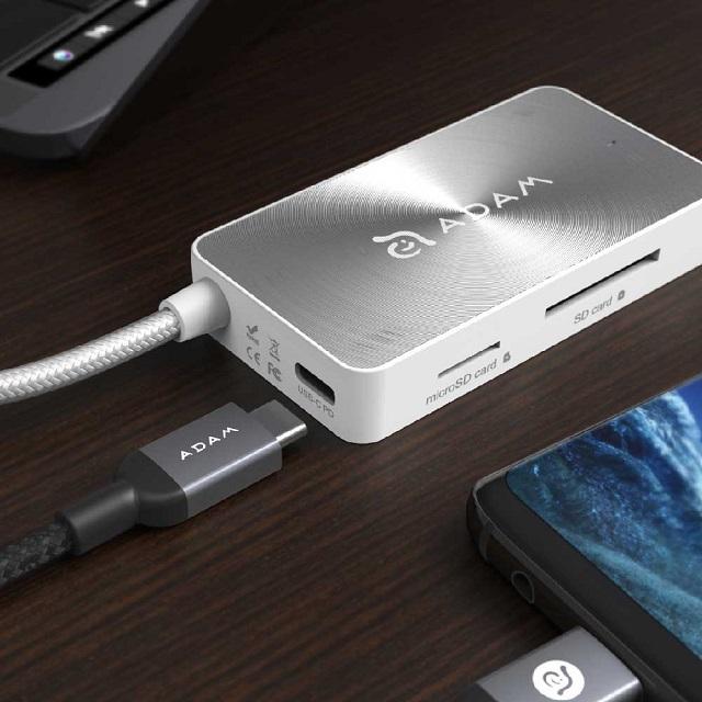 【亞果元素】CASA HUB PDC501 USB3.1 Type-C 5合1 80W 多功能充電傳輸讀卡機 銀