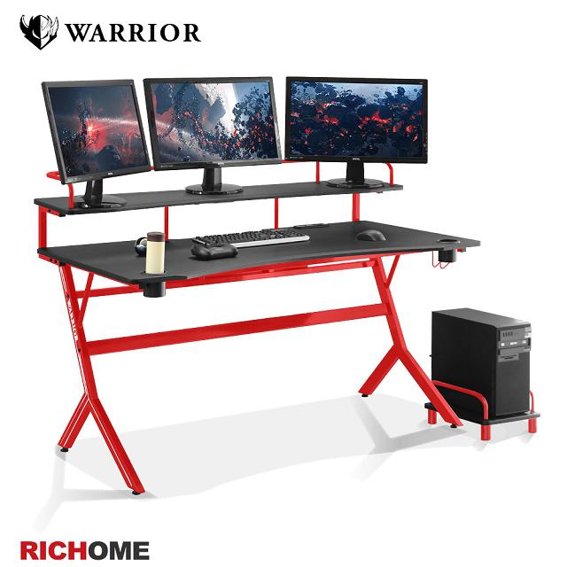 【RICHOME】WARRIOR旗艦款電競桌-紅色