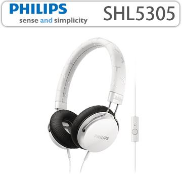 【 PHILIPS 飛利浦 】 頭戴式耳機內置麥克風 SHL5305 白色