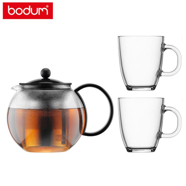 bodum ASSAM濾茶壺+玻璃馬克杯禮盒組