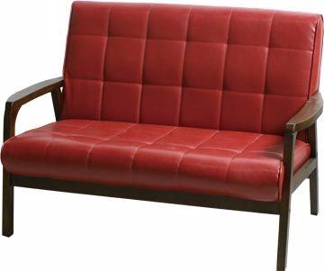 【Yoi】洛德木扶手沙發 雙人(紅)