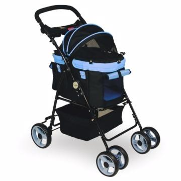 【沛德奧Petstro】412P-美好時光-寵物推車(黑x粉藍)