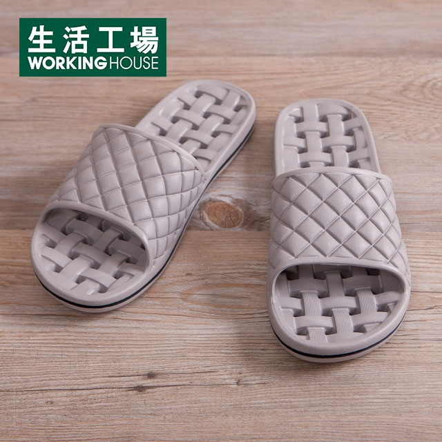 EVA經典排水浴室拖鞋-淺灰M-生活工場