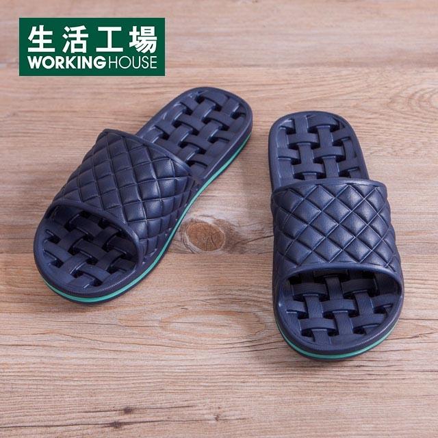 EVA經典排水浴室拖鞋-深藍M-生活工場