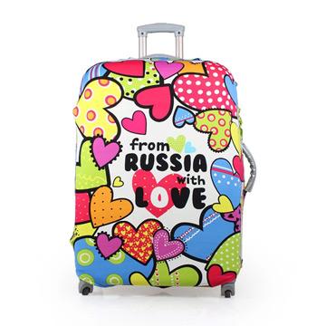 PUSH! 旅遊用品炫彩心行李箱 拉桿箱 登機箱 彈力保護套 防塵套 箱套 拖運套28寸(適用26-30寸)