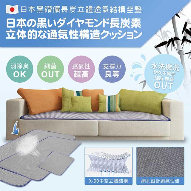 【qmodern Q之夢】日本備長炭-4D透氣沙發涼墊坐墊 椅墊/沙發墊(165*55CM-三人坐墊)