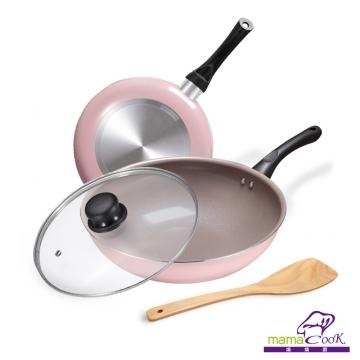 【義大利Mama Cook】綻粉陶瓷不沾鍋具組-炒鍋+平底鍋