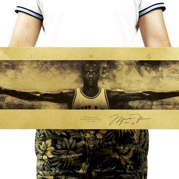 懷舊復古經典牛皮紙海報壁貼咖啡館裝飾畫仿舊掛畫●籃球NBA美國職籃系列-Michael Jordan麥可·喬丹A款