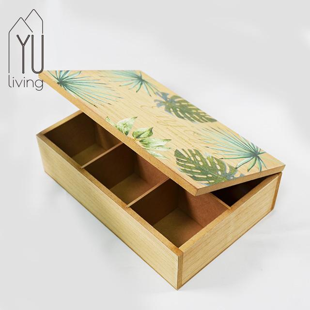 綠葉造型木質茶包收納置物盒