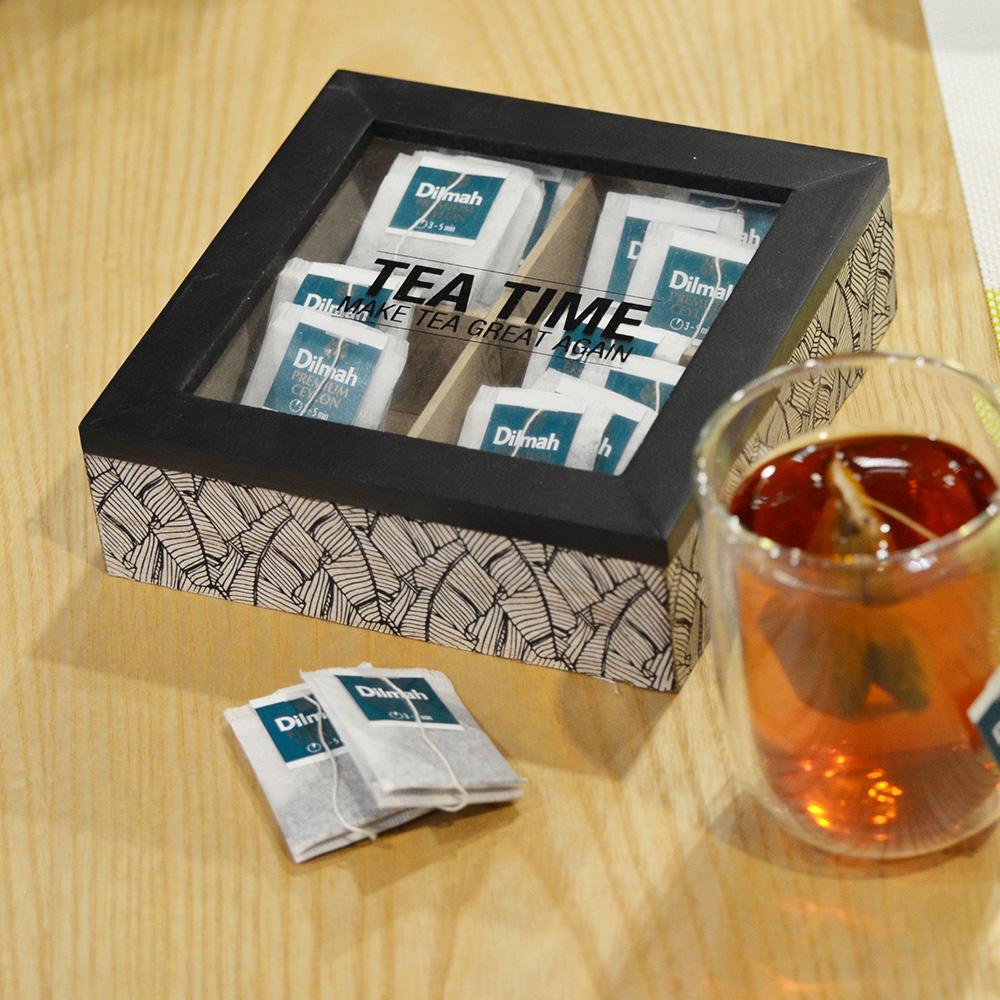 印地安圖騰木質茶包收納置物盒