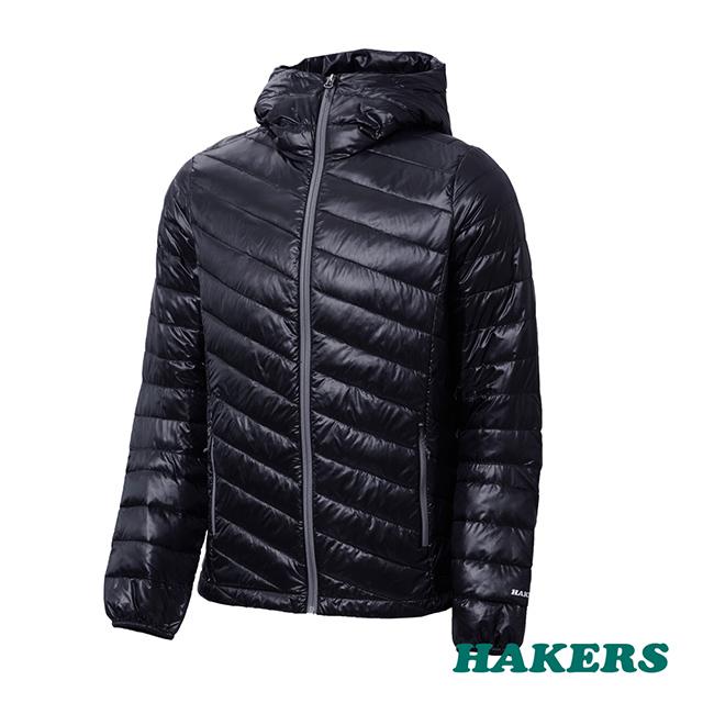 【HAKERS 哈克士】男款 Primaloft智能保暖羽絨外套-黑色