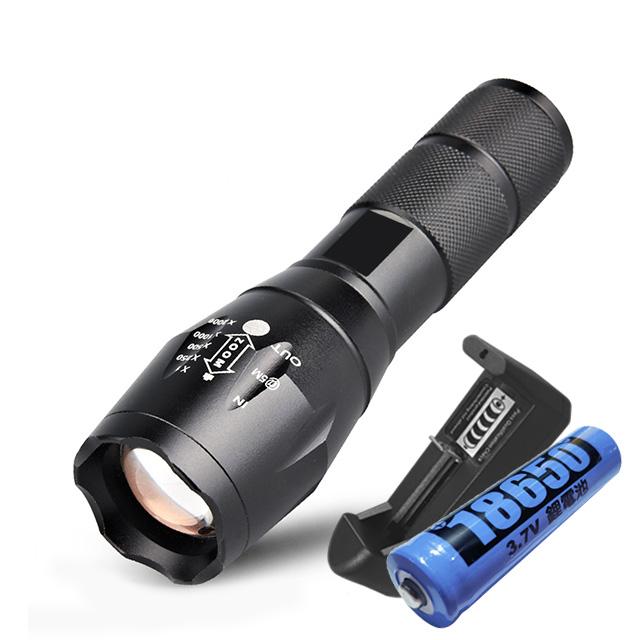 超亮美國進口CREE-T6強光變焦手電組 LED手電筒 可調五段式燈光 伸縮變焦