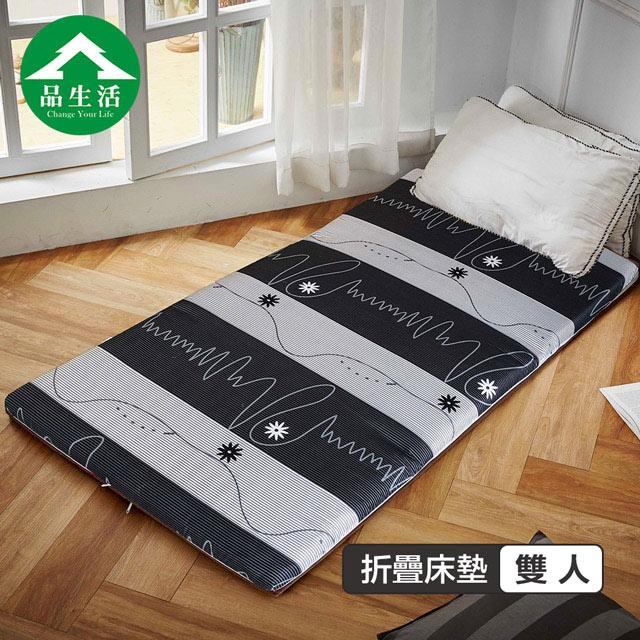 【品生活】冬夏兩用輕巧三折床墊3x6尺單人 流光歲月