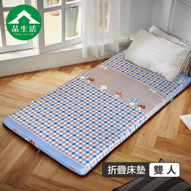 【品生活】冬夏兩用輕巧三折床墊3x6尺單人 彩色香菇
