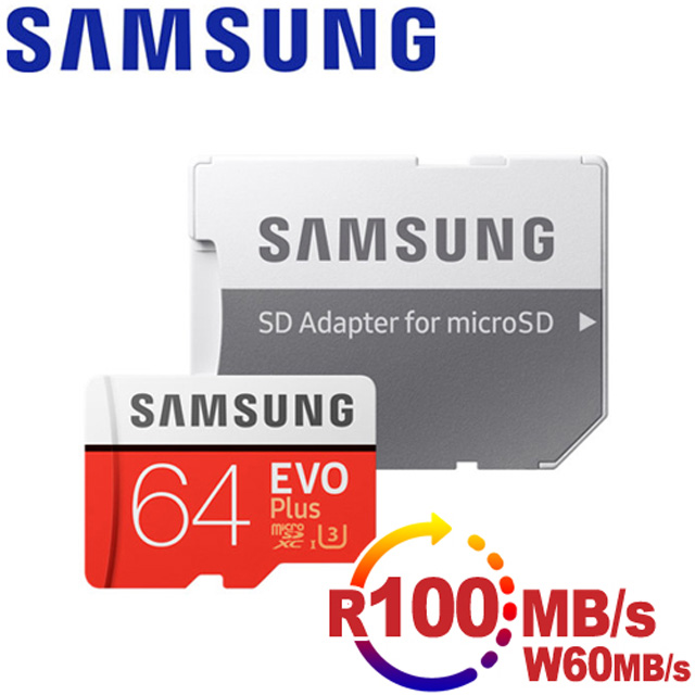 Samsung三星 microSDXC 64GB R100/W60MB UHS-I U3 EVO+高速記憶卡