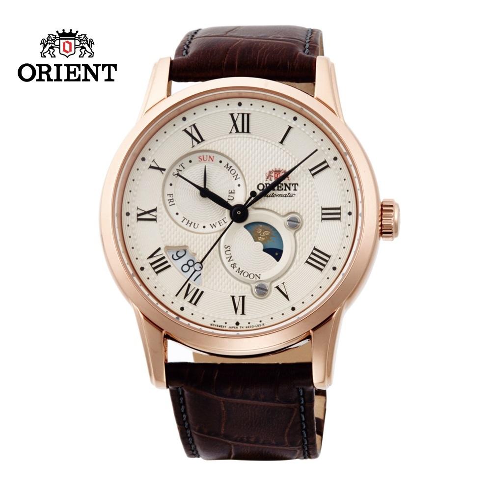 ORIENT 東方錶 SUN&MOON系列 日月相錶 皮帶款 玫瑰金 SAK00001Y-42.5 mm