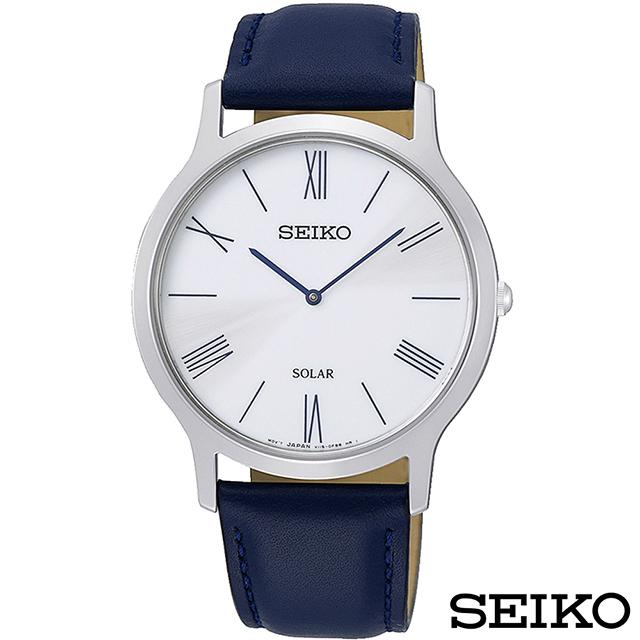 SEIKO精工 簡約爾雅超薄太陽能石英腕錶 SUP857P1