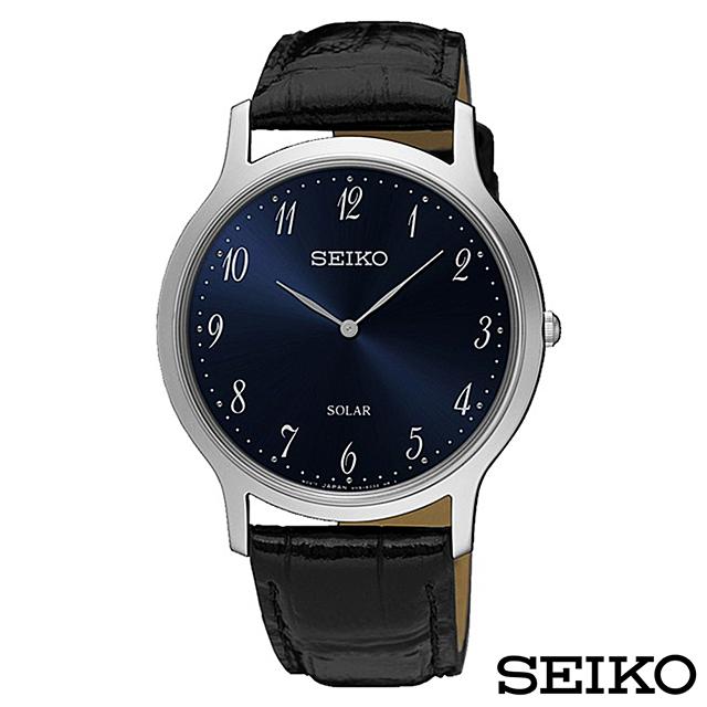SEIKO精工 簡約爾雅超薄太陽能石英腕錶 SUP861P1