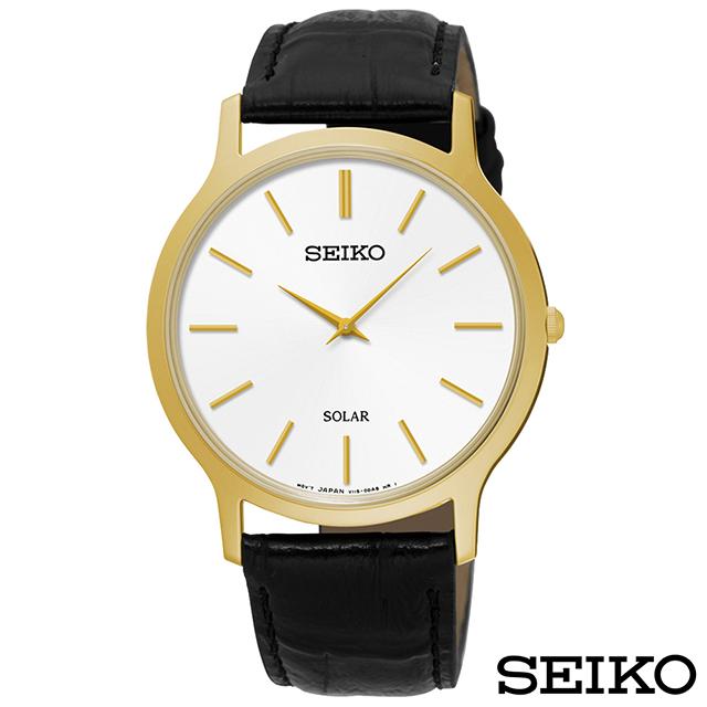 SEIKO精工 時尚爾雅超薄太陽能石英腕錶 SUP872P1