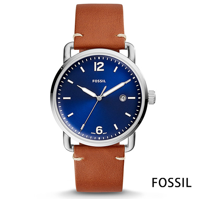 FOSSIL 紐約上城風尚真皮腕錶(FS5325)-緞面藍x銀框/42mm