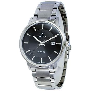 【SIGMA】簡約時尚 藍寶石鏡面不鏽鋼男錶 1122M-1 黑/銀 40mm 平價實惠的好選擇