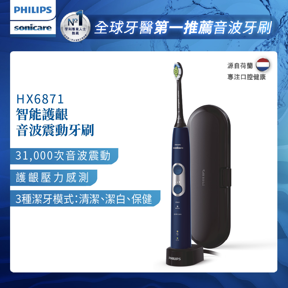 【PHILIPS 飛利浦】Sonicare ProtectiveClean 智能護齦音波震動牙刷HX6871/42