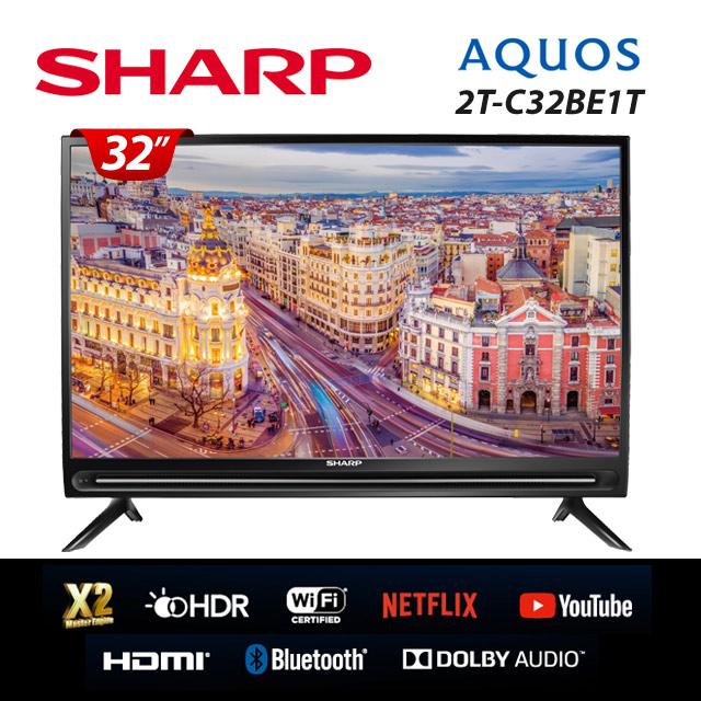 【SHARP 夏普】32吋 HD 智慧連網液晶顯示器+視訊盒 2T-C32BE1T