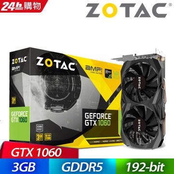 ZOTAC GeForce GTX 1060 3GB AMP Core Edition 顯示卡