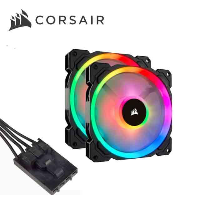 CORSAIR海盜船 LL140, 140mm雙光環 RGB LED 風扇*2+Lighting Node PRO控制器