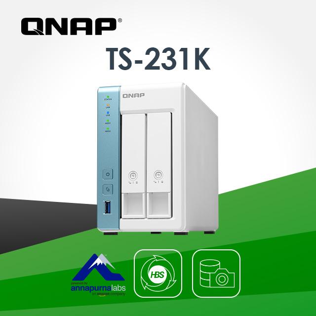[Seagate IronWolf Pro 8TB*1] QNAP TS-231K 2Bay NAS