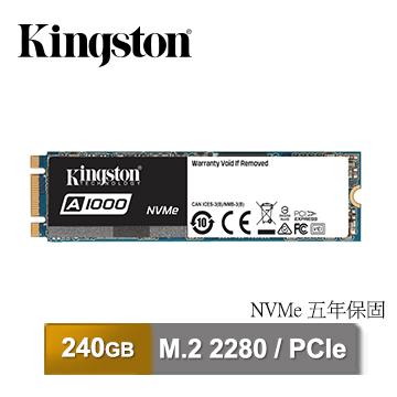 金士頓 Kingston A1000 240GB M.2 2280 PCIe NVMe™ Gen 3.0x2 SSD 固態硬碟(SA1000M8/240G)